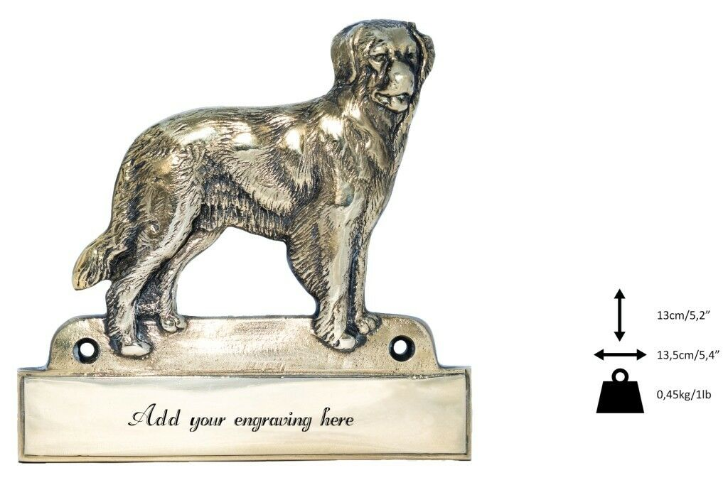 Hovawart  brass tablet Welcome with image of a dog, Art Dog type 2