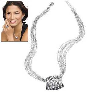 Avon Silver DAY TO NIGHT Faux Diamond Cluster Necklace NEW