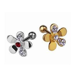 1,2mm Blume Gold oder Silber Ohr Helix Piercing Schmuck mit