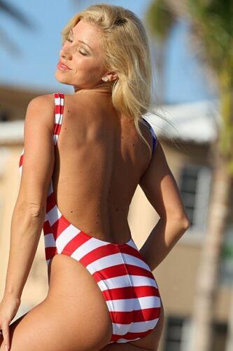 UjENA Women`s Swimwear W122 American Flag Double Dip One Piece Bathing Suit NWT