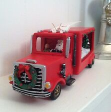 NWT Christmas Retro LED Light Up Santa in Red Truck Music Box Musical Holiday De