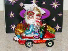 Vintage Christopher Radko Christmas Santa Golf Cart Glass Ornament NIB Germany