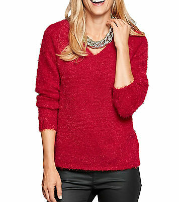 Plus Size UK 32- 34 Ladies Red Fluffy Jumper Sweater Long Sleeve