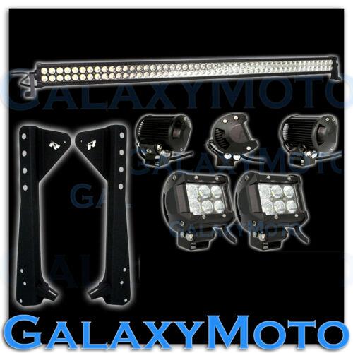 """50/"""" LED LIGHT BAR+3/"""" LED Adjustable Flood+Bracket Fit 97-06 Jeep TJ Wrangler"""