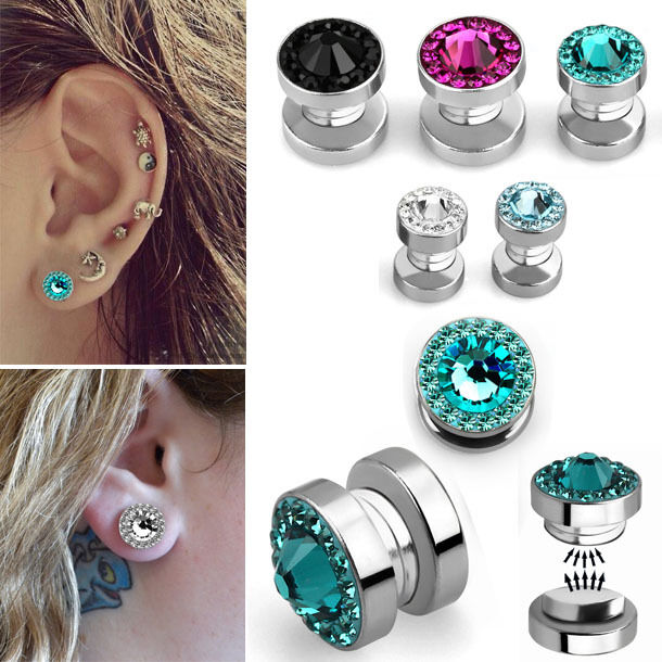 22c63f8c3fe5c 1-4PC Magnetic Illusion No Piercing Ferido Studs Sparkling Crystal Faux  Earrings