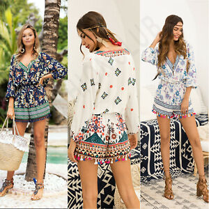 Women-V-Neck-Floral-Print-Jumpsuit-Tassels-3-4-Sleeve-Casual-Party-Beach-Romper