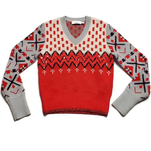Coach Medium Sweater Red Sequins Grey Black Print