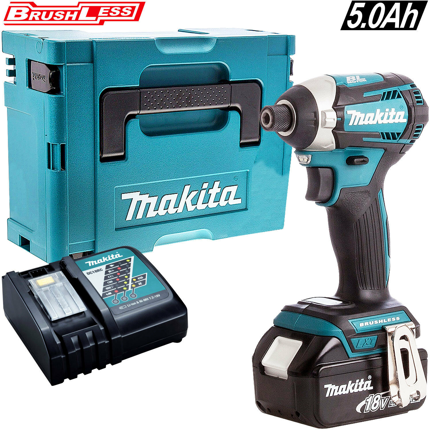 Makita DTD154Z 18V Brushless Impact Driver With 1 x 5.0Ah Battery Charger & Case