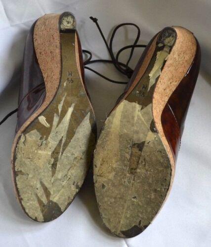 cuña de Peep Corbata M Pliner 5 Donald Mana plataforma Zapatos cuero con Tamaño de de de patente corcho 9 wIAxXq