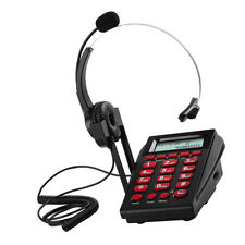 LCD Display New Office Telephone W// Corded Headset Call Center Phone Dial Pad EK
