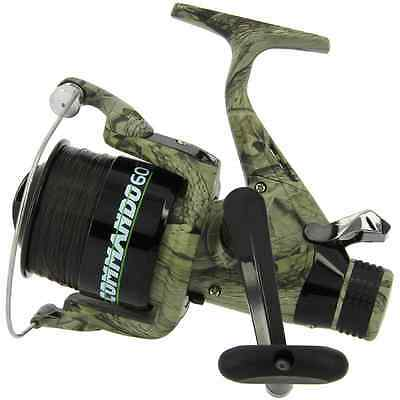 Carp Fishing Camo Lineaeffe Commando 60 Free Runner Reel + Spare Spare And Line