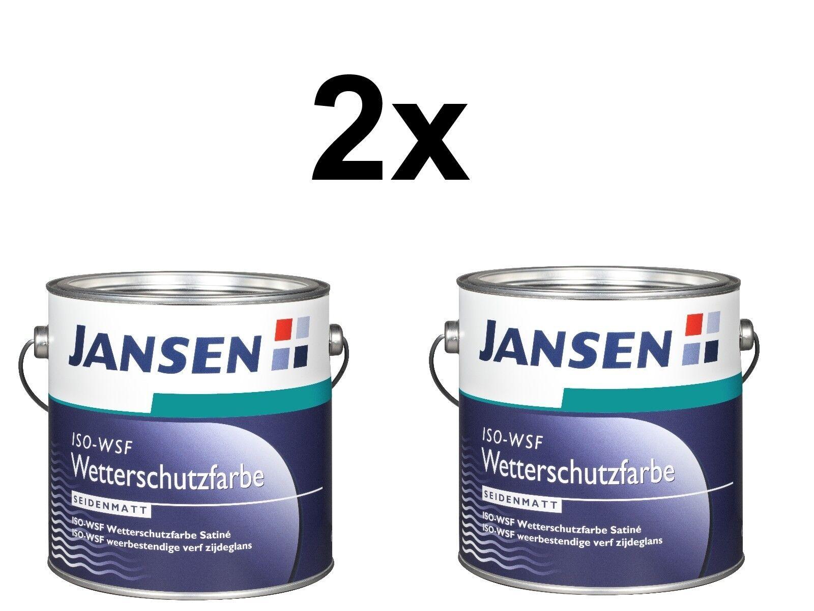 2x Jansen ISO-WSF Wetterschutzfarbe Seidenmatt Weiß - 2,5L