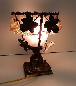 Vintage Glass Metal Table Lamp Grape Clusters Leaves Heavy Base