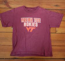 Vintage Virginia Tech VT HOKIES Fan Burgundy Womens Cotton T-Shirt S-M