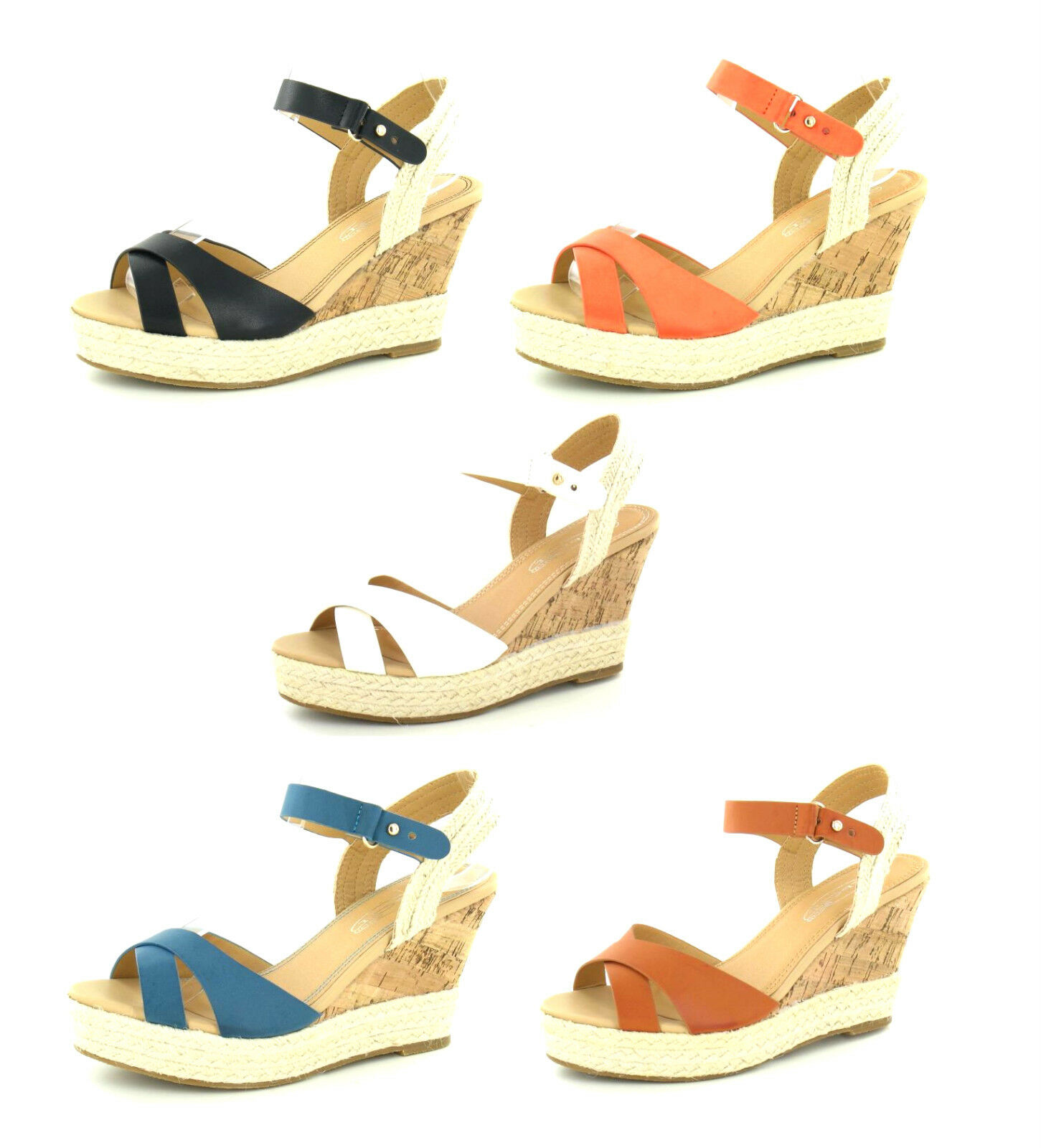 Man's/Woman's SALE LADIES SPOT ON HESSIAN CORK WEDGE SANDALS HEEL CROSS OVER SUMMER SANDALS WEDGE F2227 Crazy price Quality First Perfect processing AA1106 01c6e2