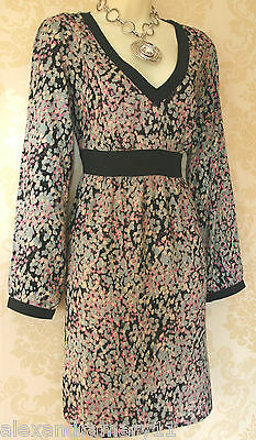 Ex Brand Black with White Spot Print Cross Over Belt Design Tea Dress Size 8-10