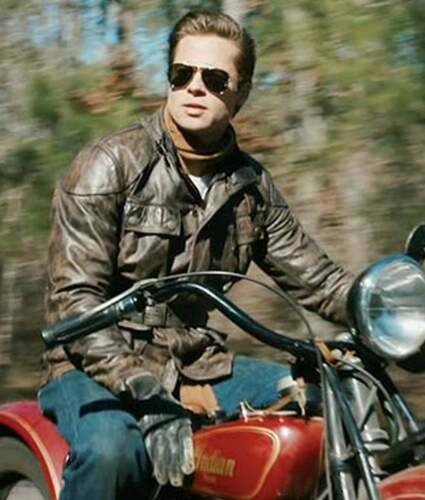 Benjamin Button Brad Pitt Brown Pure Cowhide Leather Motorcycle Jacket