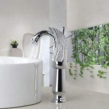 Chrome Tall swan design bathroom deck mounted basin faucet mixer brass taps