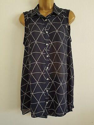 NEW Plus Size16-32 Triangle Print Chiffon Pink White Sleeveless Tunic Blouse Top