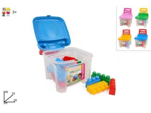 Sediolina Bambini Contenitore Con Costruzioni Plastica Colorate Sedia Bimbi dfh