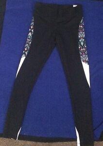 02f12ade65 NWT M VICTORIA S SECRET Pink BLACK TRIBAL AZTEC YOGA ULTIMATE LEGGINGS PANTS