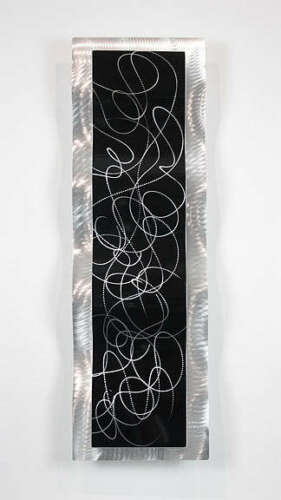 Statements2000 Abstract Black Silver Metal Wall Art Accent by Jon Allen Chaotic2