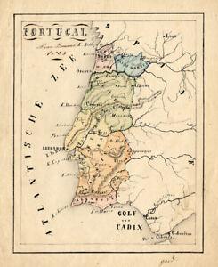 Antique Manuscript Map Portugal Europe Van Bommel 1865 Ebay