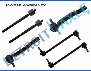 6pc Front Inner Outer Tie Rod Ends w//Sway Bar Links for 2004 2005 2006 2007 2008 2009 2010 Toyota Sienna Detroit Axle