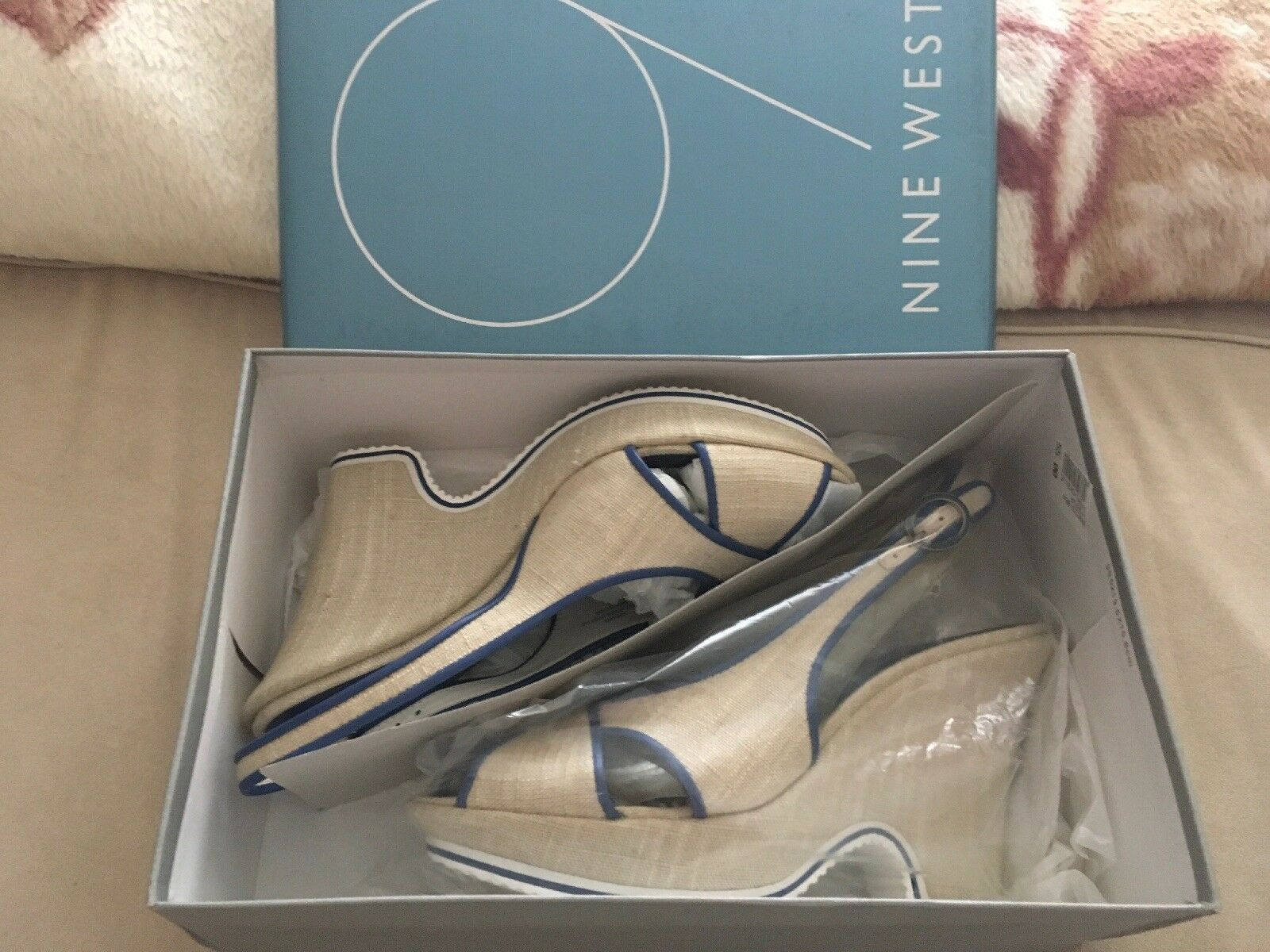 NINE WEST NWDARVA Gorgeous Canvas  Sandales UK6(US8) Schuhes Heels Ivory/Blau Größe UK6(US8) Sandales 897617