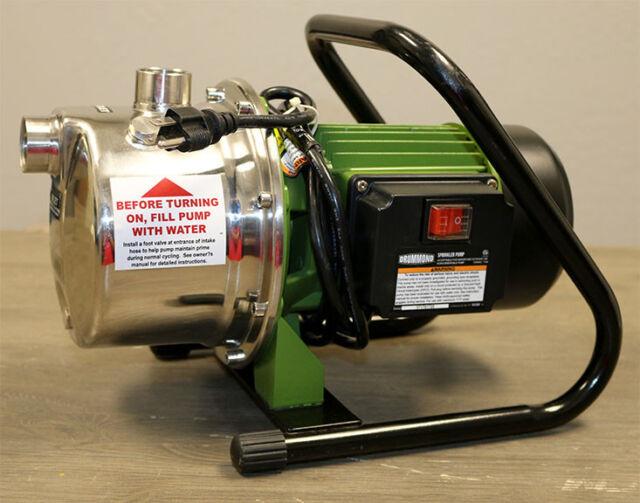 Drummond 1 HP 1075 GPH Portable Stainless Steel Lawn Sprinkler Pump