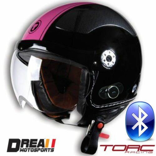 TORC T58B BLUETOOTH RED PINK BLACK WHITE OPEN FACE MOTORCYCLE HELMET DOT XS-XL