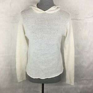 GAP-XS-Ivory-Cream-Linen-Blend-Hooded-Sweater-Long-Sleeve-Sheer-Mesh