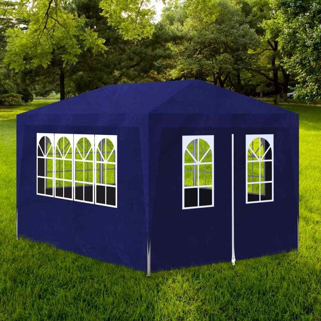 VidaXL Tienda de Fiesta de Jardín 4 Parojoes Acero Polietileno Azul Cochepa Patio