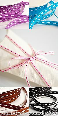 Cut Lengths Stitched Dash Dashy Grosgrain Tying Ribbon Crafts Sewing 4mm