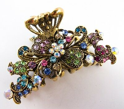New Multi-color Crystal high quality Metal Butterfly Hair Claw Clip Pin 88765