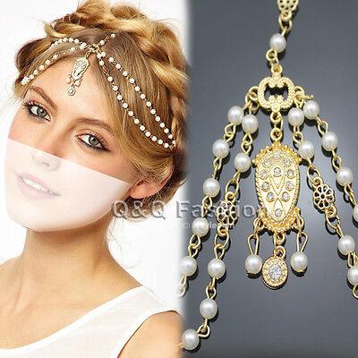 Gold Flapper Pearl Bead Crown Tikka Chain Head Hair Dress Piece Band Bridal Top