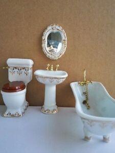 1:12 Mini Dollhouse Miniature Furniture Accessories Dollhouse Toilet Suits Set \