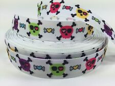 "BTY Printed 7/8"" Pirate Skull Crossbones Girls Grosgrain Ribbon Hair Bows Lisa"