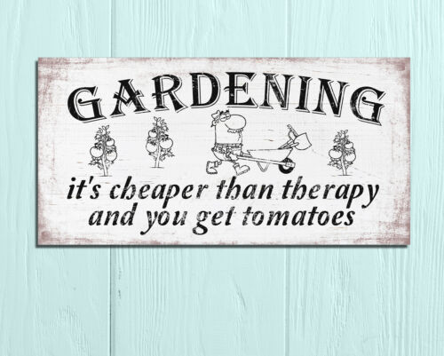 Metal plaques signs shabby chic rustic Gardening Therapy shed wall decor gift