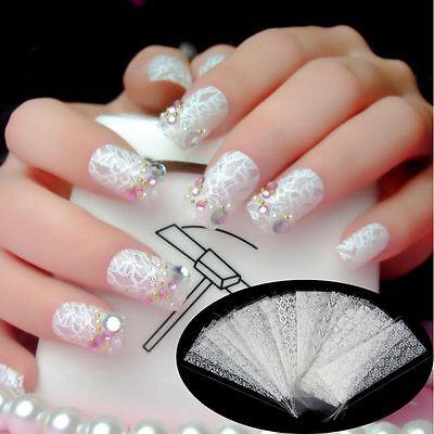 20pcs White Lace Flower Stickers Nails Art Foil Manicure Decals Ebay