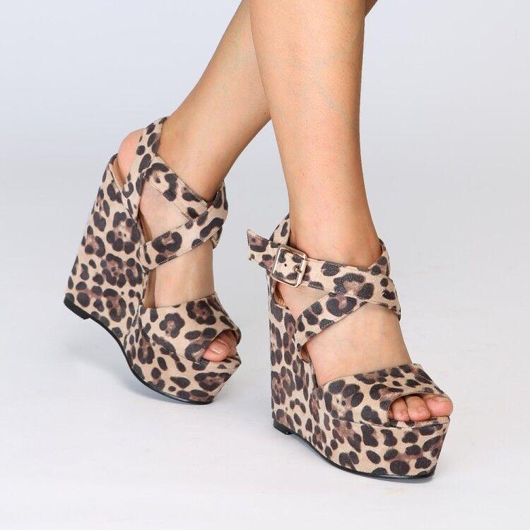 Sexy Leopard Damen Peeptoe Riemchen-Pumps Keilabsatz Römersandalen 44 45 46 47