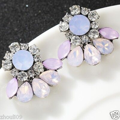 gorgeou Design Lady Bib Statement clear crystal long Ear Studs earrings hot e542