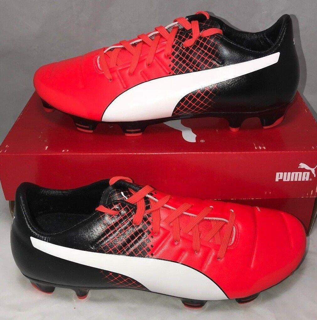275 Puma Mens Size 8 Evopower 2.3 FG Leather Soccer Cleats Black Red Blast