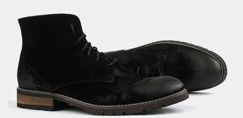 MEN HANDMADE LEATHER STYLE DERBY SHOES BLACK SUEDE LEATHER BOOTS