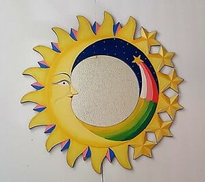 Details About Hand Painted Wall Hanging Wood Sun Moon Shooting Star Contemporary Mirror