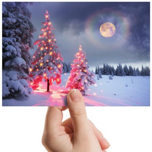 "Christmas Tree Night Forest Small Photograph 6/"" x 4/"" Art Print Photo Gift #16713"