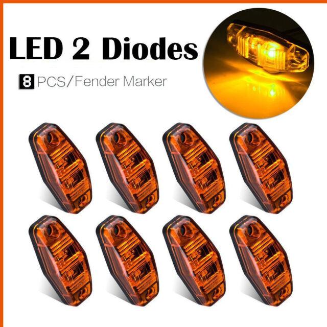 8X Amber 12V LED Side Marker Light Bar Car Truck Trailer Turn Signal Light lamp