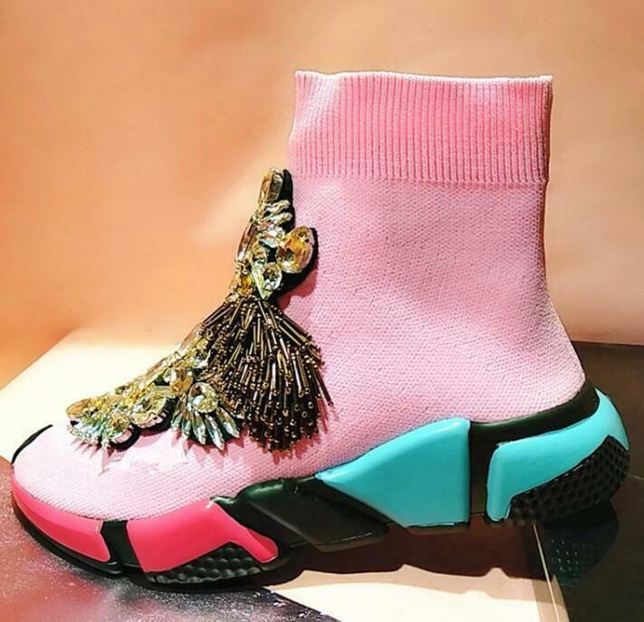 Women Sock Yellow Ankle Boot Rhinestones Embroidery Tassel Sneaker shoes Casual