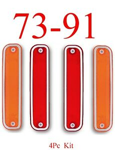 73-91-Chevy-4Pc-Dually-Fender-Light-Kit-GMC-Amber-amp-Red-Front-amp-Rear