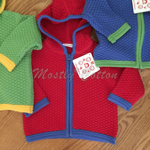 NWT baby unisex 70 80 Hanna Andersson hooded cotton Colorful Cardigan sweater